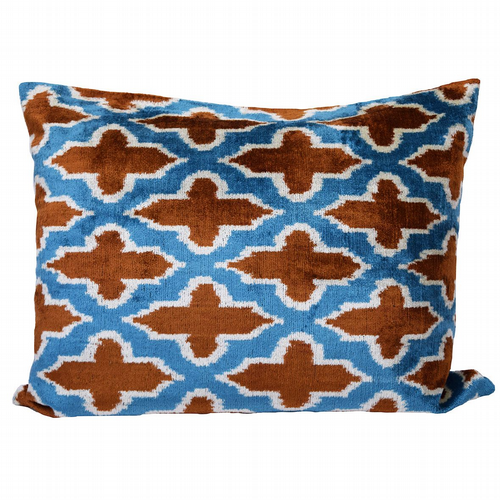 Silk Velvet Cushion -  Bronze & Teal